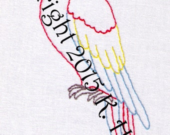 Red Parrot Hand Embroidery Pattern