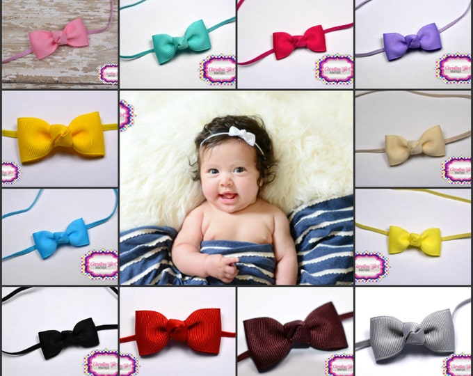 Baby Bow Headbands ~You Pick 5 Newborn Headbands - Small Headband Tiny Bow on Skinny Elastic - Girls Hair Bows - Baby Bowbands