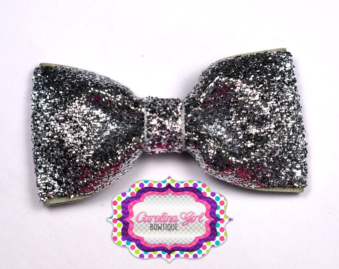 "Silver Glitter ~ 3"" Hair Bow Tuxedo Bow ~ Simple Bow ~ Boutique Bow for Babies Toddlers ~ Girls Hair Bows"