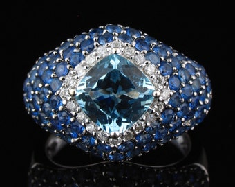 Natural 3.60ctw Aquamarine and Blue Sapphire 14K White Gold Ring-Size 7-March Birthstone September Birthstone