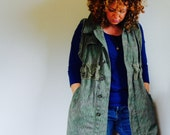 SAMPLE///Reconstructed Vintage Military Canvas Jacket////Vest with Pockets