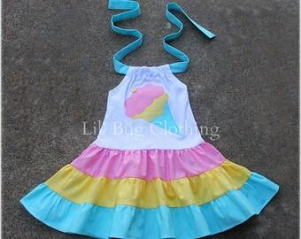 Ice Cream Cone Girls Twirl Dress, Ice Cream Cone Birthday Party Dress, Ice Cream Social Summer Party Dress, Ice Cream Cone Outfit