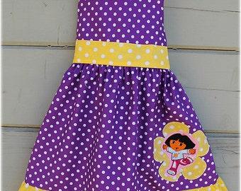 Custom Boutique Clothing Dora The Explorer Yellow and Purple  BIrthday Dots Jumper Dress