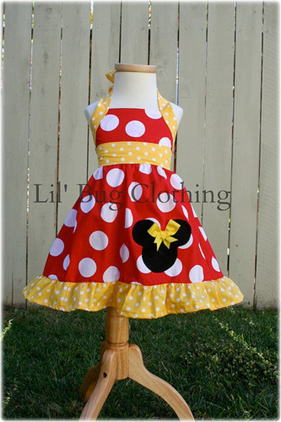 Custom Boutique Clothing Red and Yellow MInnie Mouse Halter Swing Dress