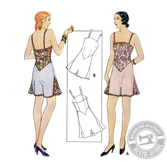 1930s Dresses, Clothing & Patterns Links Early 1930s Combination Underwear Pattern- Wearing History PDF  AT vintagedancer.com