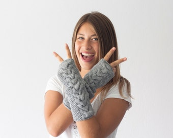 Hand knit grey cable arm warmers,long fingerless gloves,hand knit womens gloves,mittens,half finger gloves,gift under 40