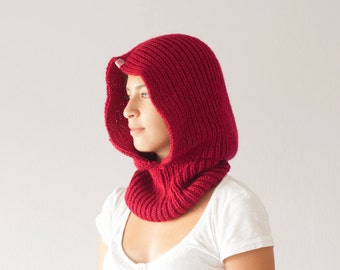 Knit hooded cowl in red neckwarmer cowl scarf collar neck warmer knit hoodie cowl with hood