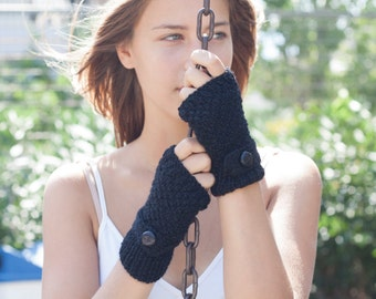 Black hand knit gloves with strap and button,fingerless gloves,mittens,wrist warmers,hand warmers,texting gloves,knit gloves