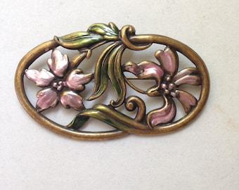Art Nouveau Enamel on Brass Brooch