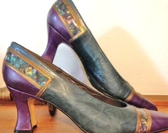 Vintage High Heel Shoes Purple Teal Abalone Leather Size 7 Narrow Margaret Jerrold