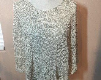 Cotton  Poncho, Hand Knit in Ivory and Black Yarn