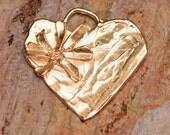 Be Joyful Heart Pendant in Gold Bronze
