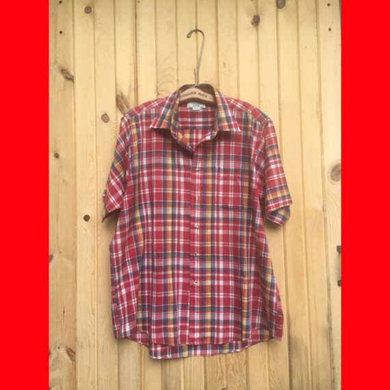 On sale men 39 s size large vintage sears shirt madras for Sears dress shirts sale