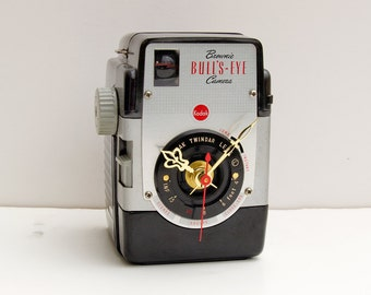 Recycled Kodak Brownie Bullseye Camera Clock, clock made from camera, unique homemade camera clock