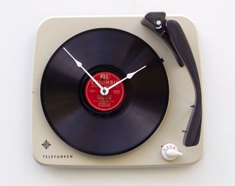 Clock created from a recycled Telefunken record player