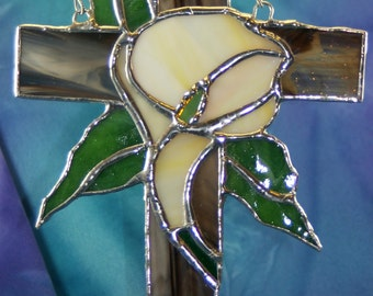 Stained Glass Cross and  Cream Peachy Cala  Lilly Suncatcher Hand made