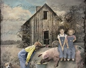 Down on the Farm Digital Collage Greeting Card (Suitable for Framing)