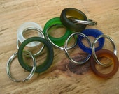 seaglass inspired colors  1 keychain TrAsH gLaSs hoop keyring in your color choice