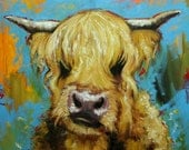 Cow painting 1019 24x24 inch animal original highland cow oil painting by Roz