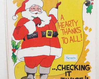 Vintage Sears Work Poster Workplace Thanks Christmas Happy Holidays Santa