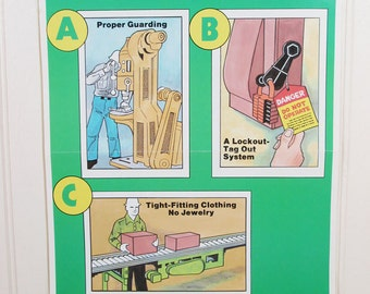 Vintage Safety Poster Work Workplace The Answer To Pinch Point Injuries Ohio