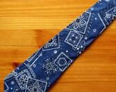 SALE Necktie, Blue Bandana Necktie with Free Tie Gift Box, Bandana Tie, Navy Tie, Navy Necktie