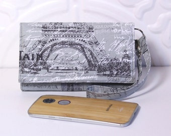 Cell Phone Wristlet Wallet with Card Holder/ iPhone 6 Holder, Galaxy, Nexus, Moto X Wallet Wristlet / NEW STYLE TECH / Paris in Gray