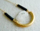 Solar Beam Boho Pendant Necklace- Black