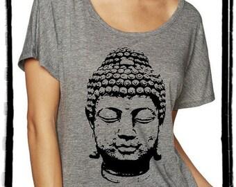 Buddha Dolman Tee Loose Slouchy Heathered tshirt shirt