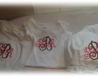 Three Piece Monogrammed Infant Onesie, Bloomers/Diaper Cover and Bib - Baby Gift