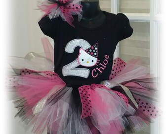 Personalized Hello Kitty Glitter Birthday Tutu Set and Matching Tulle Bow