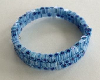 Blue millefiori bead memory wire bracelet - glass