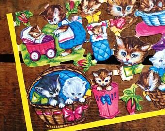 German Scraps - Cute Kittens - Die Cuts, Cut Outs, Vintage Style, Vintage Inspired, Paper Ephemera, Reproduction, Cute Scrapbooking Paper