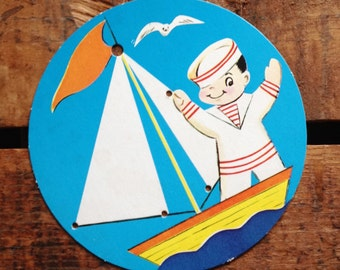 Vintage Sailor Boy Lacing Card / Sewing Card - Unused