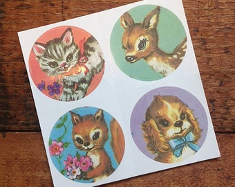 Vintage Inspired Sticker Sheet - Colorful Animals