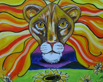 Leo Sun Sign Astrological Painting on Canvass Board in Acrylic