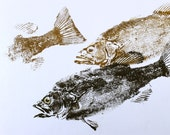 Smallmouth Bass original GYOTAKU Fish Rubbing Cottage or lake house art Decor for the angler 19X25