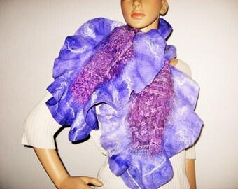 Purple NUNO FELTED Ruffle  Scarf Merino Wool Violet Lovander Winter Felt Scarf Long Warm Wet Felt Scarf