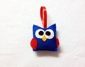 Owl Ornament, Baby Owl, Christmas Ornament, Felt Holiday Ornament - Americus the Baby Owl