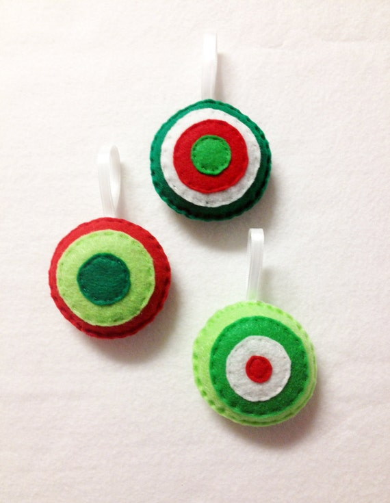 Christmas Ornament Set - Holly Jolly - Felt Hand Stitched Holiday Decor - Red Green Lime