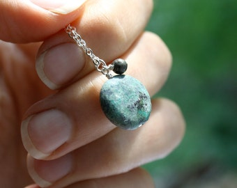 Raw Turquoise Necklace . Turquoise Healing Pendant Necklace . African Turquoise Necklace . Turquoise Pendant - Corinth Collection