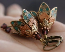 Flower Earrings, Dangle, Teal Earrings, Gift For Her, Gift Idea, Romantic Gift, Crystal Earrings, Statement Earrings