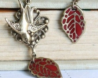 Bird Dangle Earrings, Leaf Earrings, Red Earrings, Bird Earrings, Swallow Earrings,