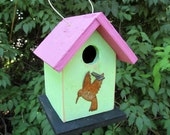 Primitive Birdhouse Chickadee Wren Cute Songbirds Rusty Hummingbird Lime Green Pink Black Handcrafted Birdhouse