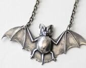 Silver Bat Necklace, Flying Bat Jewelry, Goth Necklace, Unisex Necklace, Night Creature, Silver Necklace, Bat Lover Gift, Vampire Bat, SRAJD