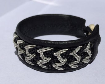 Black and Silver Chevron Sami Bracelet - Leather Wrap Tin Metal Thread Braided Bracelet with Reindeer Leather and Antler Button Clasp