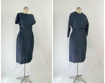 Mid Century Plaid Dress with Matching Cropped Jacket Cummerbund Waist Novelty Swiss Dot Fabric Blue Green  Small Medium