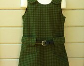 Mod Back to School Flannel Jumper One of a Kind Ready to Ship in Girls Size 4