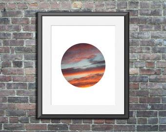 Circle Print, Circle Photo, sunset art, circle photography, sunset photography, circle artwork, nature artwork, circle wall print