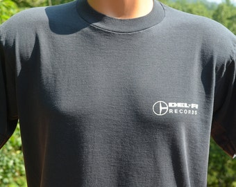 80s vintage tee shirt DEL-FI records delfi music latin record label black t-shirt Large Medium soft thin